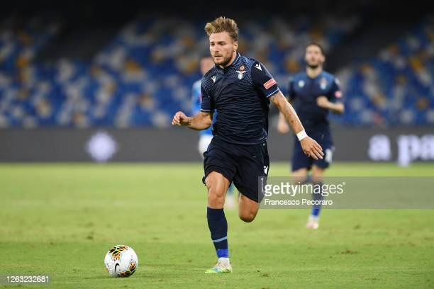 Ciro Immobile of SS Lazio during the Serie A match between SSC Napoli and SS Lazio at Stadio San Paolo on August 01, 2020 in Naples, Italy.