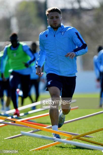 Ciro Immobile of SS Lazio during the SS Lazio training session at Formello center in Rome on February 27 2020 in Rome Italy