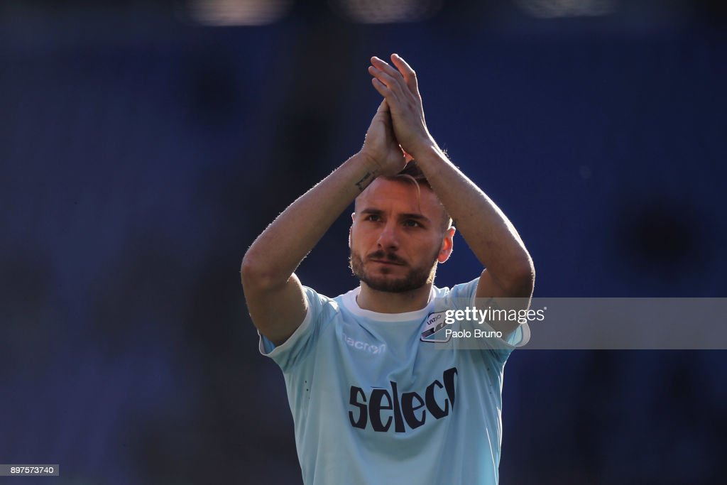Ciro Immobile of SS Lazio greets the fans after the Serie A match between SS Lazio and FC Crotone at Stadio Olimpico on December 23, 2017 in Rome, Italy.