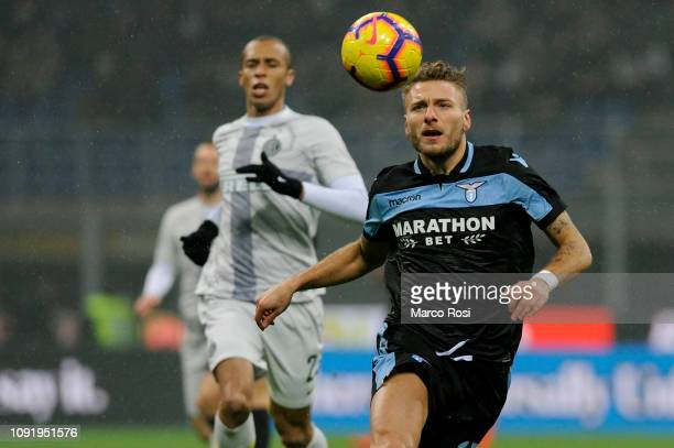 Ciro Immobile of SS Lazio in action during the Coppa Italia match between FC Internazionale and SS Lazio at Stadio Giuseppe Meazza on January 31 2019...