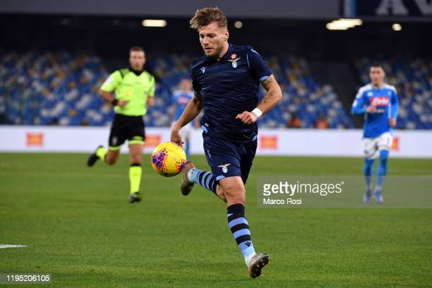 Ciro Immobile of SS Lazio in action during the Coppa Italia match between SSC Napoli and SS Lazio at Stadio San Paolo on January 21, 2020 in Naples,...