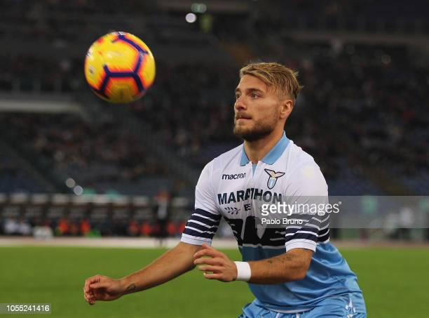Ciro Immobile of SS Lazio in action during the Serie A match between SS Lazio and FC Internazionale at Stadio Olimpico on October 29 2018 in Rome...