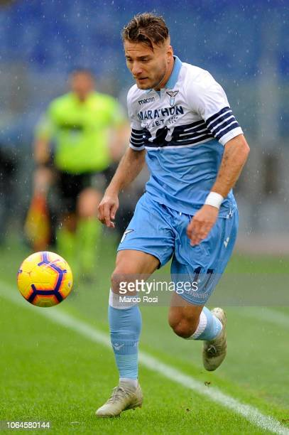 Ciro Immobile of SS Lazio in action during the Serie A match between SS Lazio and SPAL at Stadio Olimpico on November 4 2018 in Rome Italy