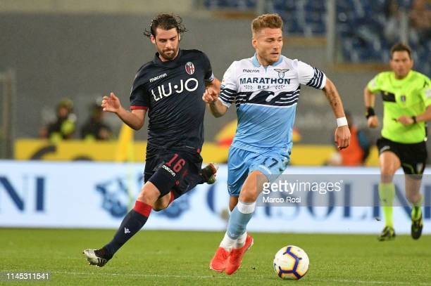 Ciro Immobile of SS Lazio in action during the Serie A match between SS Lazio and Bologna FC at Stadio Olimpico on May 20 2019 in Rome Italy
