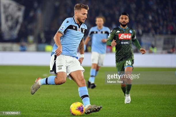 Ciro Immobile of SS Lazio in action during the Serie A match between SS Lazio and SSC Napoli at Stadio Olimpico on January 11 2020 in Rome Italy