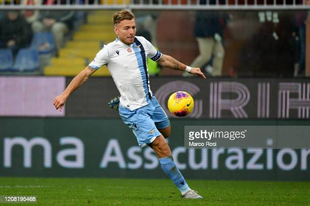 Ciro Immobile of SS lazio in action during the Serie A match between Genoa CFC and SS Lazio at Stadio Luigi Ferraris on February 23 2020 in Genoa...