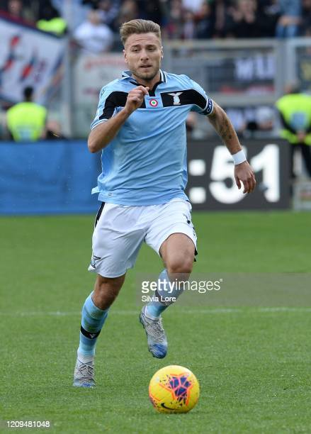 Ciro Immobile of SS Lazio in action during the Serie A match between SS Lazio and Bologna FC at Stadio Olimpico on February 29 2020 in Rome Italy