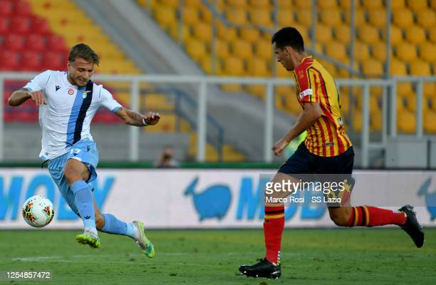 Ciro Immobile of SS Lazio in action during the Serie A match between US Lecce and SS Lazio at Stadio Via del Mare on July 07 2020 in Lecce Italy