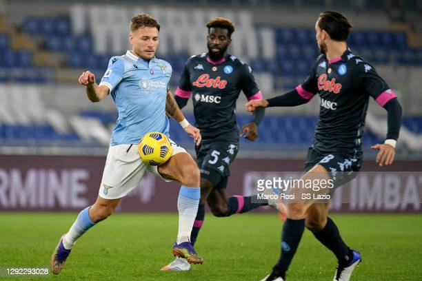 Ciro Immobile of SS Lazio in action during the Serie A match between SS Lazio and SSC Napoli at Stadio Olimpico on December 20, 2020 in Rome, Italy....