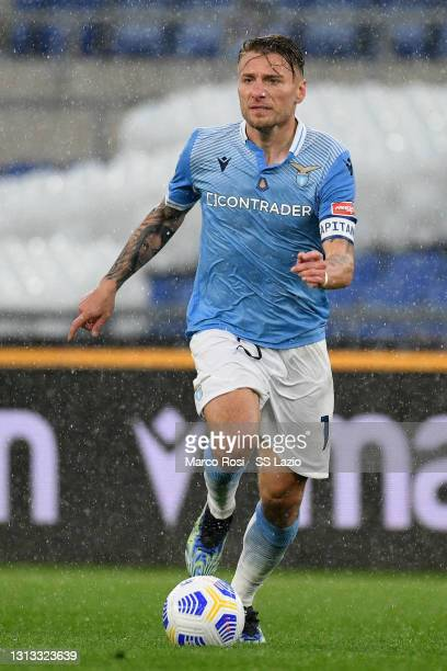 Ciro Immobile of SS Lazio in action during the Serie A match between SS Lazio and Benevento Calcio at Stadio Olimpico on April 18, 2021 in Rome,...