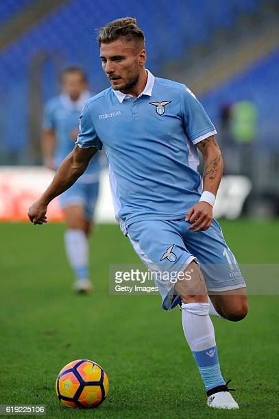 Ciro Immobile of SS Lazio in action during the Serie A match between SS Lazio and US Sassuolo at Stadio Olimpico on October 30 2016 in Rome Italy