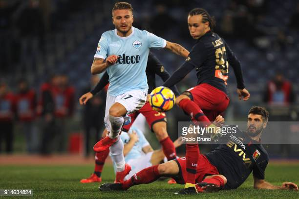 Ciro Immobile of SS Lazio in action during the Serie A match between SS Lazio and Genoa at Stadio Olimpico on February 5 2018 in Rome Italy