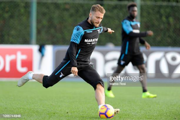 Ciro Immobile of SS Lazio in action training session on October 31 2018 in Rome Italy