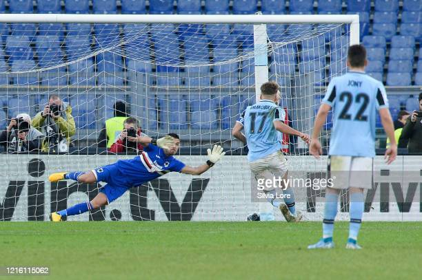 Ciro Immobile of SS Lazio kicks and score a penalty during the Serie A match between SS Lazio and UC Sampdoria at Stadio Olimpico on January 18 2020...