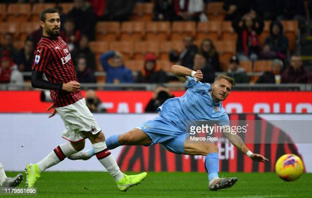 Ciro Immobile of SS Lazio kicks the ball during the Serie A match between AC Milan and SS Lazio at Stadio Giuseppe Meazza on November 3 2019 in Milan...