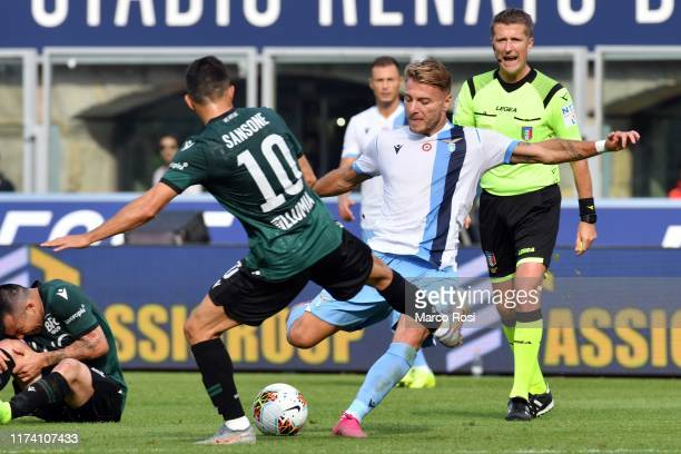 Ciro Immobile of SS lazio kicks the ball during the Serie A match between Bologna FC and SS Lazio at Stadio Renato Dall'Ara on October 6 2019 in...
