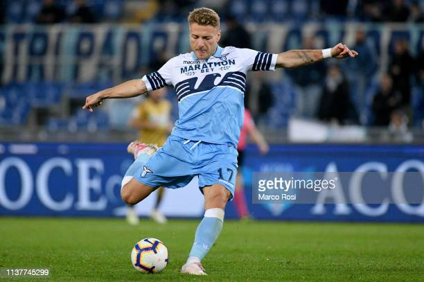 Ciro Immobile of SS Lazio kicks the ball during the Serie A match between SS Lazio and Udinese at Stadio Olimpico on April 17 2019 in Rome Italy