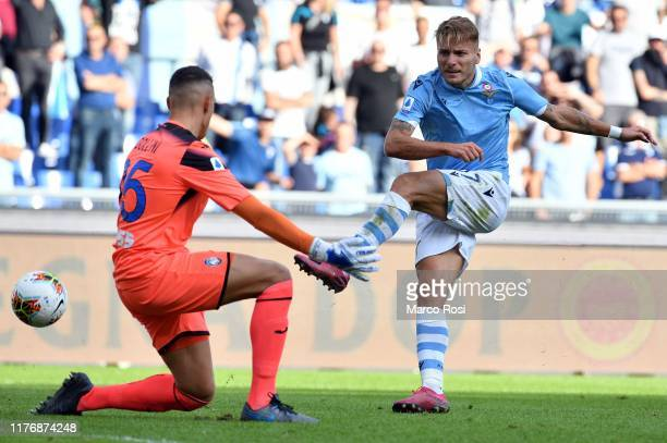 Ciro Immobile of SS Lazio kicks the ball during the Serie A match between SS Lazio and Atalanta BC at Stadio Olimpico on October 19 2019 in Rome Italy