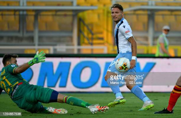 Ciro Immobile of SS Lazio kicks the ball during the Serie A match between US Lecce and SS Lazio at Stadio Via del Mare on July 07 2020 in Lecce Italy