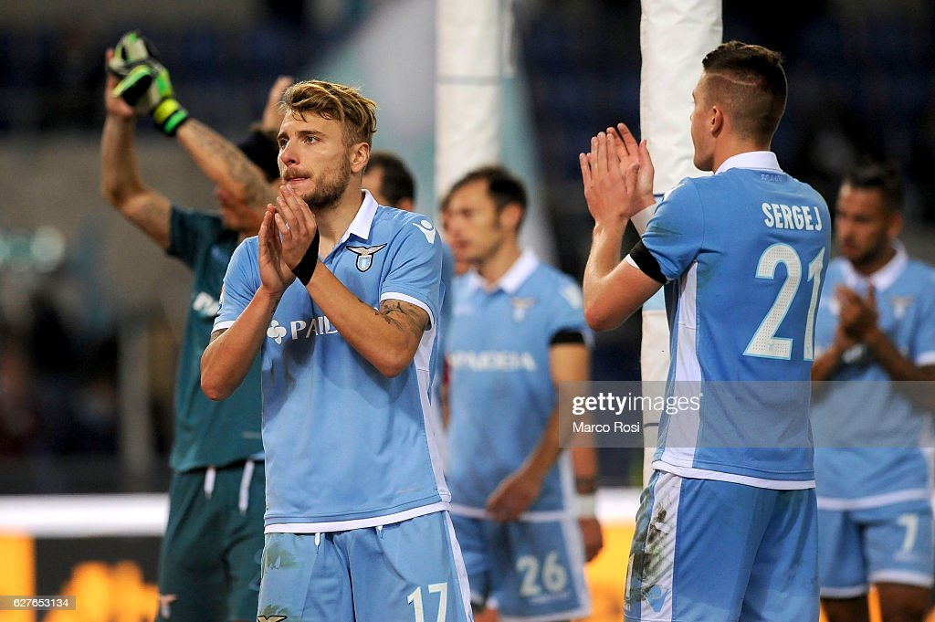 Ciro Immobile of SS Lazio looks dejected after the Serie A match between SS Lazio and AS Roma at Stadio Olimpico on December 4, 2016 in Rome, Italy.