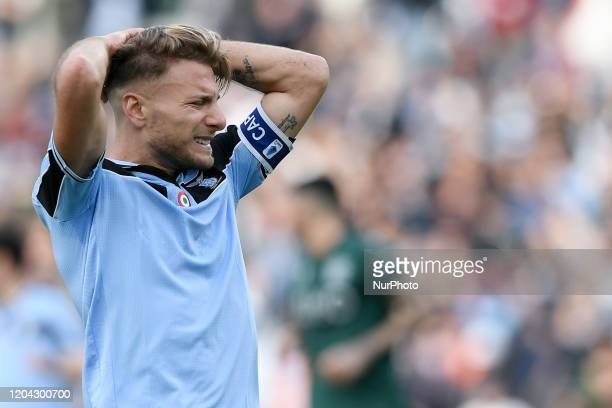 Ciro Immobile of SS Lazio looks dejected during the Serie A match between Lazio and Bologna at Stadio Olimpico Rome Italy on 29 February 2020