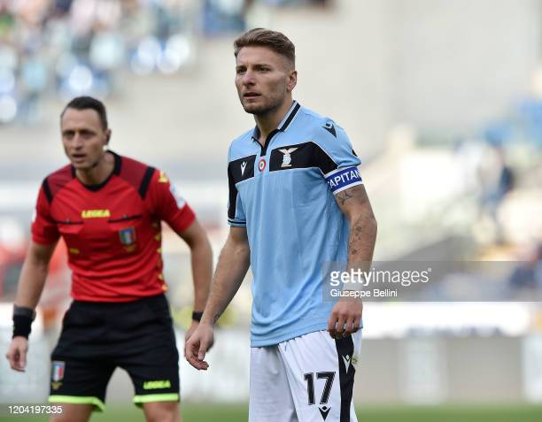 Ciro Immobile of SS Lazio looks on during the Serie A match between SS Lazio and Bologna FC at Stadio Olimpico on February 29 2020 in Rome Italy