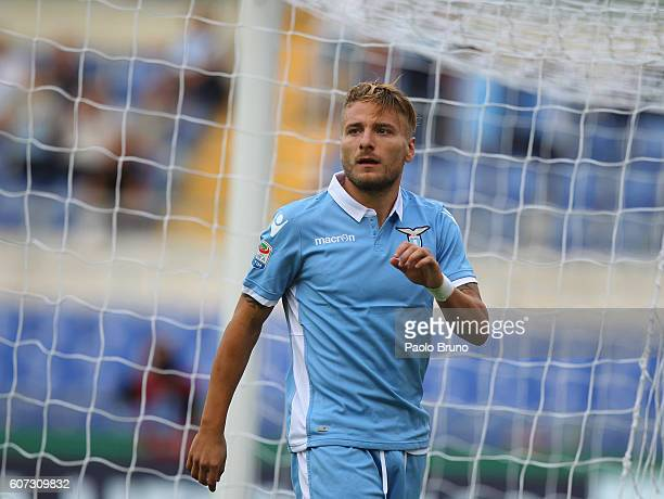 Ciro Immobile of SS Lazio looks on during the Serie A match between SS Lazio and Pescara Calcio at Stadio Olimpico on September 17 2016 in Rome Italy