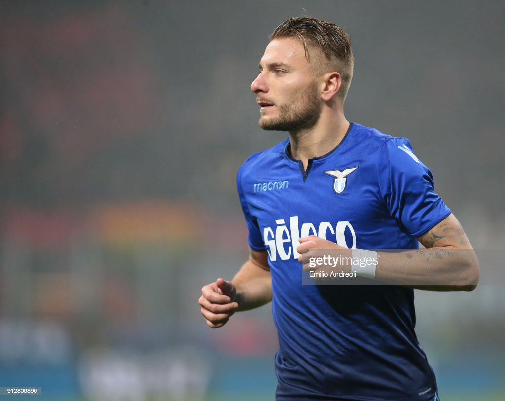 Ciro Immobile of SS Lazio looks on during the TIM Cup match between AC Milan and SS Lazio at Stadio Giuseppe Meazza on January 31, 2018 in Milan, Italy.