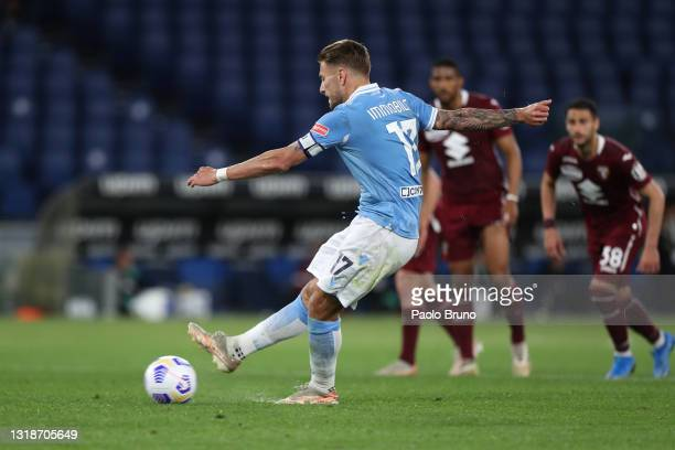 Ciro Immobile of S.S. Lazio misses from the penalty spot during the Serie A match between SS Lazio and Torino FC at Stadio Olimpico on May 18, 2021...