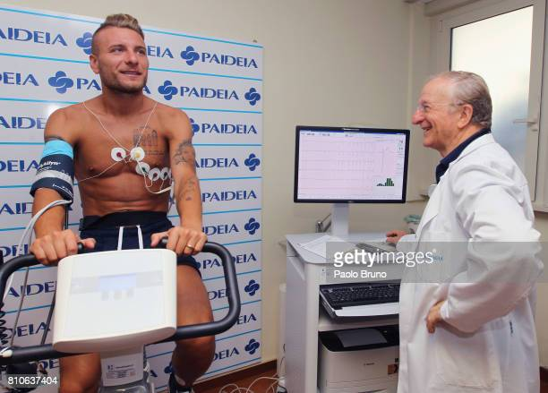 Ciro Immobile of SS Lazio poses during the SS Lazio medical tests on July 8 2017 in Rome Italy