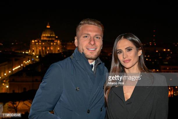 Ciro Immobile of SS Lazio poses for a picture with his wife Jessica during the celebrations for the 120th Anniversary of the SS Lazio at Castel...