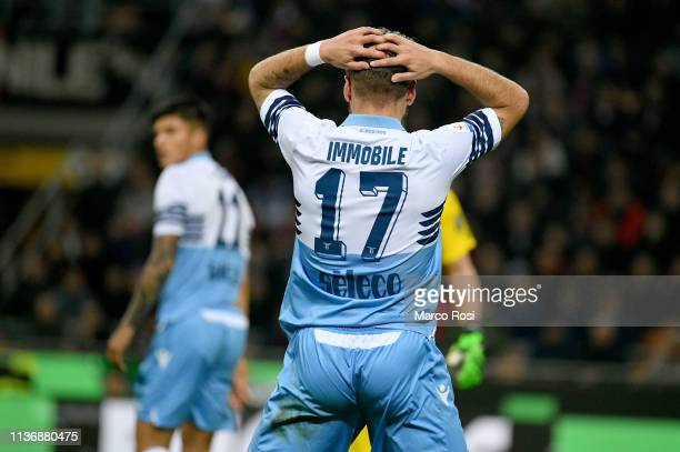 Ciro Immobile of SS Lazio reacts during the Serie A match between AC Milan and SS Lazio at Stadio Giuseppe Meazza on April 13 2019 in Milan Italy