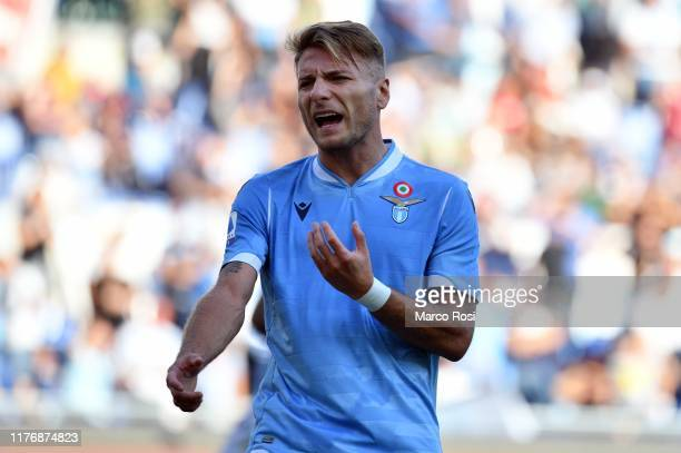 Ciro Immobile of SS Lazio reacts during the Serie A match between SS Lazio and Atalanta BC at Stadio Olimpico on October 19 2019 in Rome Italy