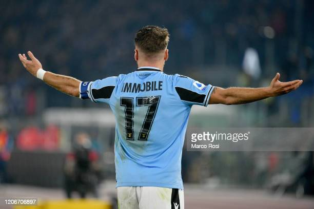 Ciro Immobile of SS Lazio reacts during the Serie A match between SS Lazio and FC Internazionale at Stadio Olimpico on February 16, 2020 in Rome,...