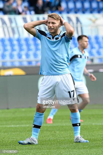 Ciro Immobile of SS Lazio reacts during the Serie A match between SS Lazio and Bologna FC at Stadio Olimpico on February 29 2020 in Rome Italy