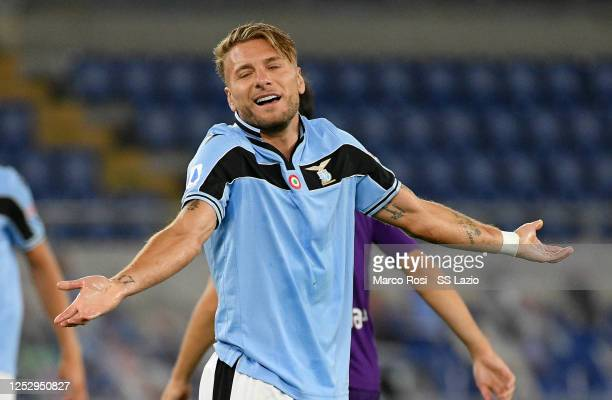 Ciro Immobile of SS Lazio reacts during the Serie A match between SS Lazio and ACF Fiorentina at Stadio Olimpico on June 27, 2020 in Rome, Italy.