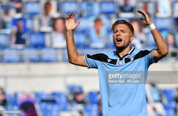 Ciro Immobile of SS Lazio reacts during the Serie A match between SS Lazio and US Sassuolo at Stadio Olimpico on July 11 2020 in Rome Italy