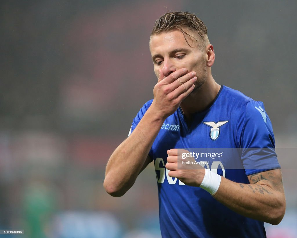 Ciro Immobile of SS Lazio reacts during the TIM Cup match between AC Milan and SS Lazio at Stadio Giuseppe Meazza on January 31, 2018 in Milan, Italy.