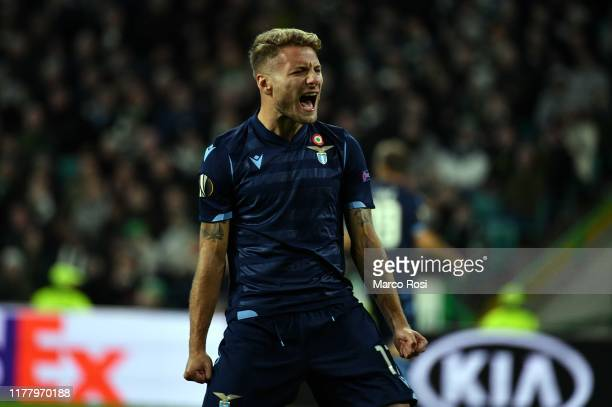 Ciro Immobile of SS Lazio reacts during the UEFA Europa League group E match between Celtic FC and Lazio Roma at Celtic Park on October 24 2019 in...