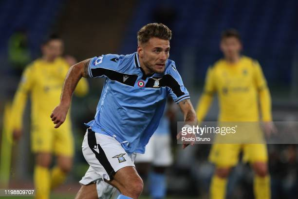Ciro Immobile of SS Lazio runs during the Serie A match between SS Lazio and Hellas Verona at Stadio Olimpico on February 5 2020 in Rome Italy