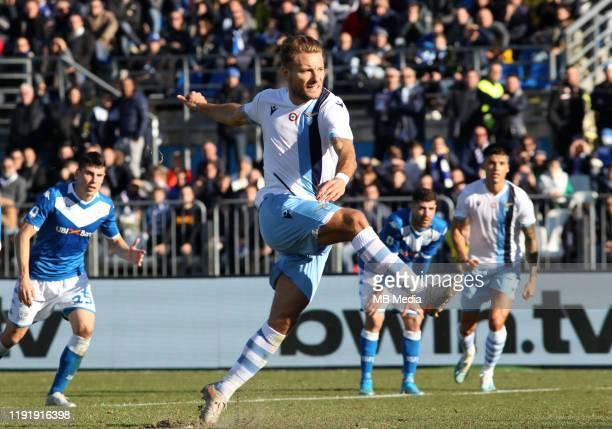 Ciro Immobile of SS LAZIO score is penalty goal 11 during the Serie A match between Brescia Calcio FC and SS Lazio at Stadio Mario Rigamonti on...