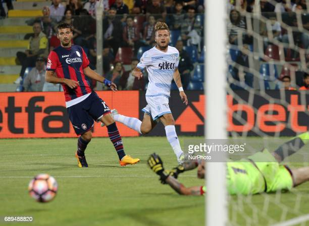 Ciro Immobile of SS Lazio scores a frjist goal a penalty during the Serie A match between FC Crotone and SS Lazio at Stadio Comunale Ezio Scida on...