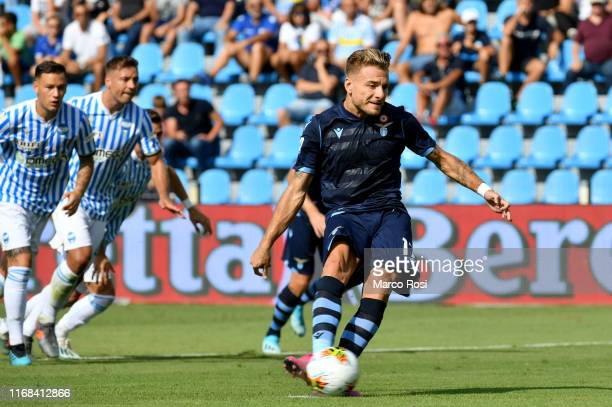 Ciro Immobile of SS Lazio scores a opening goal a penalty during the Serie A match between SPAL and SS Lazio at Stadio Paolo Mazza on September 15...