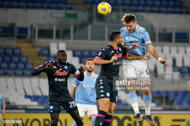 Ciro Immobile of SS Lazio scores a opening goal during the Serie A match between SS Lazio and SSC Napoli at Stadio Olimpico on December 20, 2020 in...