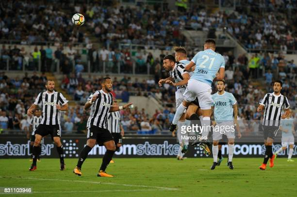 Ciro Immobile of SS Lazio scores a second goal during the Italian Supercup match between Juventus and SS Lazio at Stadio Olimpico on August 13 2017...