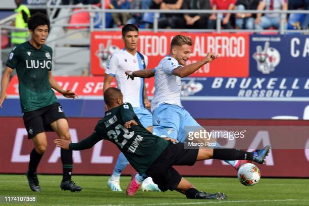 Ciro Immobile of SS Lazio scores a second goal during the Serie A match between Bologna FC and SS Lazio at Stadio Renato Dall'Ara on October 6 2019...