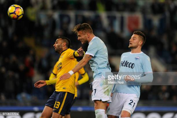 Ciro Immobile of SS Lazio scores a second goal during the serie A match between SS Lazio and Hellas Verona FC at Stadio Olimpico on February 19 2018...