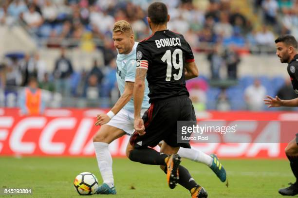 Ciro Immobile of SS Lazio scores a third goal during the Serie A match between SS Lazio and AC Milan at Stadio Olimpico on September 10 2017 in Rome...