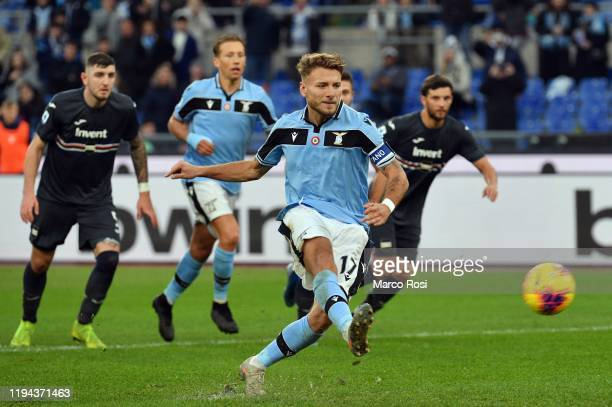 Ciro Immobile of SS Lazio scores the fifth goal of his team via penalty during the Serie A match between SS Lazio and UC Sampdoria at Stadio Olimpico...