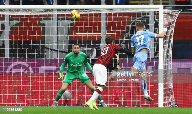 Ciro Immobile of SS Lazio scores the opening goal during the Serie A match between AC Milan and SS Lazio at Stadio Giuseppe Meazza on November 3 2019...